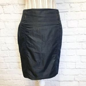 Express Dark Denim Pencil Fit Classic Skirt